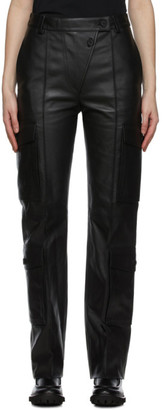 Kenzo Black Leather Cargo Pants