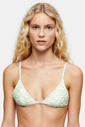 MinkPink Womens **Lime Tiger Triangle Bikini Top By Mink Pink - Lime