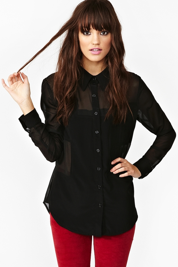 Nasty Gal Block Out Blouse - Black