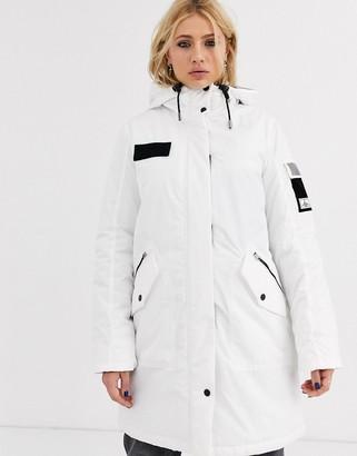 Bershka longline parka with hood in white
