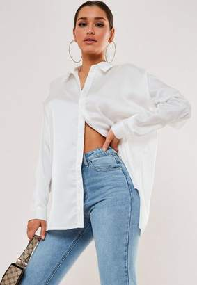 Missguided Tall White Satin Longline Extreme Oversized Shirt