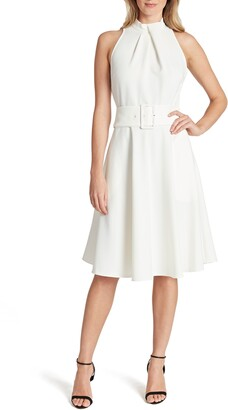 Tahari Sleeveless Belted Scuba Crepe Fit & Flare Dress