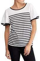 Lauren Ralph Lauren Flutter-Sleeve Striped Jersey Top