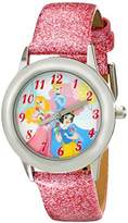 Disney Kids' W001981 Snow White Stainless Steel Watch with Glittery Faux Leather Band