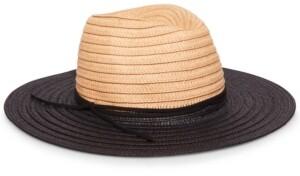 Steve Madden Two-Tone Straw Fedora Hat