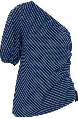 Petersyn Abigail One-shoulder Striped Cotton-twill Top