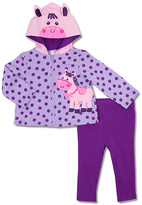 Baby Essentials Purple & Pink Pony Zip-Up Hoodie & Pants - Infant