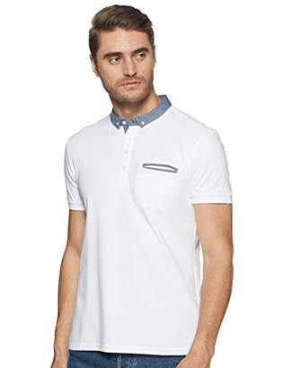 Celio Men's DEPETIT Slim Fit Plain Polo Short Sleeve Polo Shirt - White