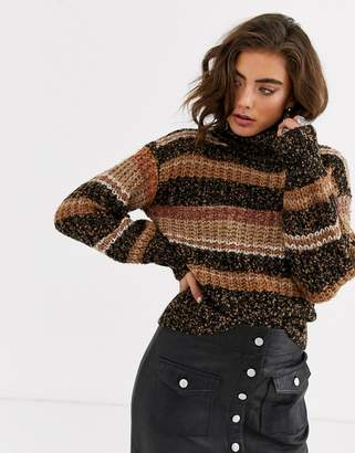 Object space dye stripe roll neck jumper-Multi
