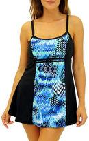 Fit 4 U Scattered Elements Colorblocked Swimdress