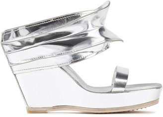 Rick Owens Metallic Leather Wedge Mules