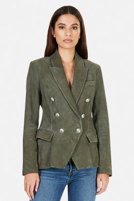 L'Agence Kenzie Double Breasted Suede Blazer