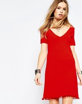 Asos Swing Dress in Knit with Pom Pom Detail with T-Shirt Sleeve