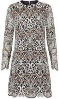 Valentino Metallic Embroidered Tulle Mini Dress