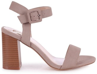 Linzi KATE - Concrete Nubuck Open Toe Stacked Block Heel With Ankle Strap