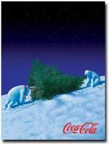 Polar Bears with Christmas Tree Canvas Art