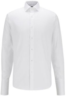 BOSS Regular-fit shirt in easy-iron cotton with double cuffs