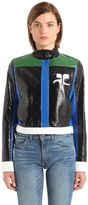 Courreges Color Block Faux Patent Leather Jacket