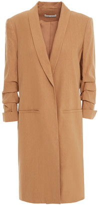 Alice + Olivia Muriel Ruched Linen-blend Coat