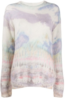 Amiri Long Sleeve Distressed Tie-Dye Jumper
