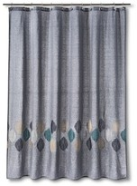 Threshold Stitch Ogee Embroidered Shower Curtain