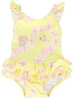 Sunuva - 'Frangipani Frill' swimsuit - kids - Polyamide/Polyester/Spandex/Elastane - 3-6 mth
