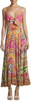 Camilla Embellished Tie-Front A-Line Maxi Dress, Hani Honey