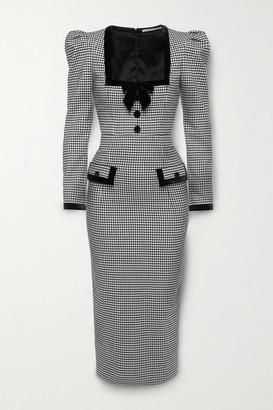 Alessandra Rich Velvet-trimmed Checked Wool-blend Midi Dress - Black