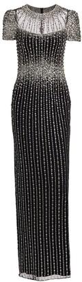 Jenny Packham Delilah Beaded Cap-Sleeve Gown