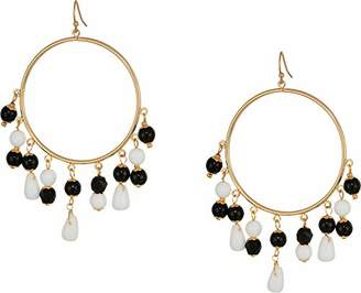 """Kenneth Jay Lane Women's 3"""" Gold Fishhook Hoop Earrings with Black and White Beaded Drops"""