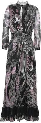 Just Cavalli Wrap-effect Lace-trimmed Printed Silk-chiffon Midi Dress