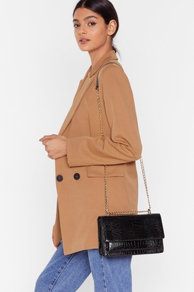 Nasty Gal Womens WANT Croc Calling Faux Leather Crossbody Bag - Black - One Size