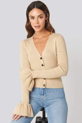 BEIGE Hanna Weig X NA-KD Button Down Bell Sleeve Sweater