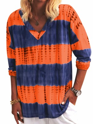 Sexy Dance Women Tie Dye Striped Printed Tops Ladies Long Sleeve V-Neck Shirts Pullover Blouse Basic Tee 3XL Orange
