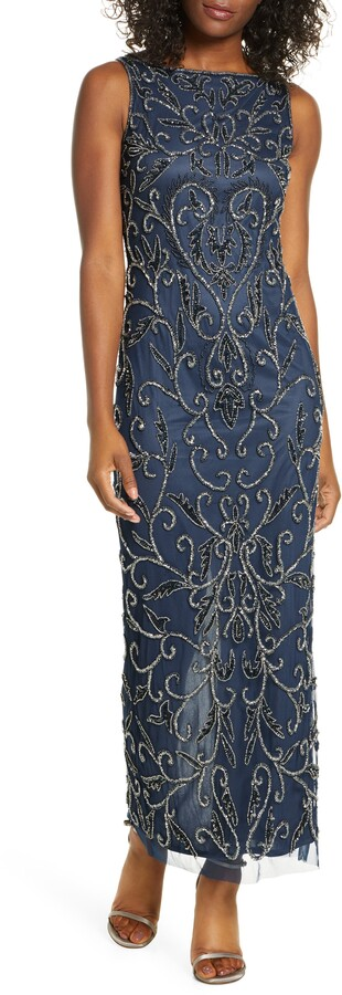 Pisarro Nights Scroll Motif Beaded Mesh Sleeveless Gown