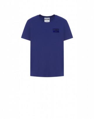 Moschino Label Jersey T-shirt Man Blue Size 44 It - (34 Us)
