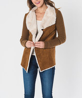 Paparazzi Camel Faux Fur Knit-Sleeve Jacket