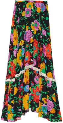 Gucci Ken Scott print viscose skirt