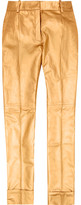 Metallic leather flared pants