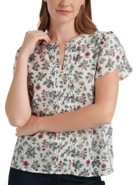 Lucky Brand Printed Tulip-Sleeve Top