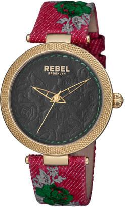 Rebel Brooklyn 40mm Carroll Gardens Watch w/ Leather Strap, Black/Red