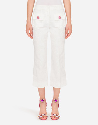 Dolce & Gabbana Jacquard Pants With Bejeweled Buttons