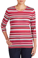 Allison Daley Crew Neck 3/4 Sleeve Stripe Print Knit Top