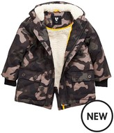 Mini V By Very Boys Camo Faux Fur Lined Parka