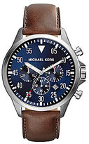 Michael Kors Men's Gage Leather Strap Chronograph Watch