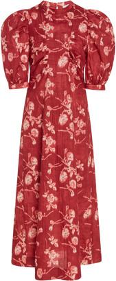 Sea Monet Floral-Print Cotton-Poplin Midi Dress