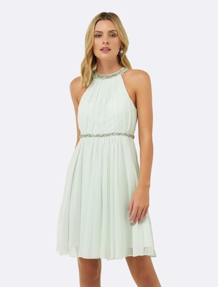 Forever New Alya Embellished Neck Dress - Mint - 4