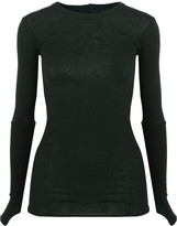 Enza Costa Rib-paneled cotton and cashmere-blend top