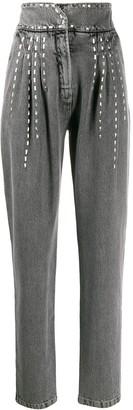 Alberta Ferretti Stud Embellished Tapered Jeans