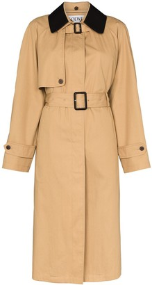 Loewe Contrasting Collar Trench Coat